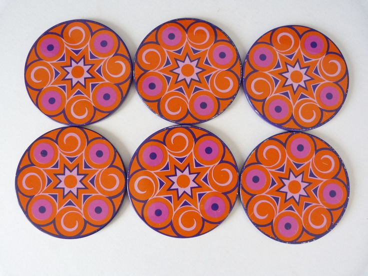 vintage 1970's Metal coasters flower power by planetutopia on Etsy