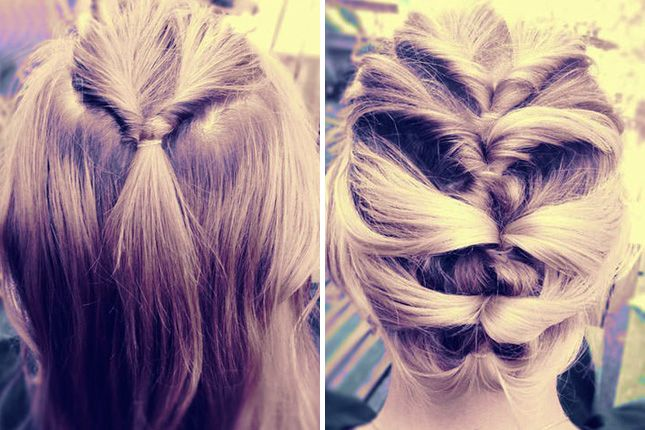 Topsy Tail-Inspired Twisted Updo: Tospy tail upon topsy tail makes a lovely waterfall effect on this updo fit for special occasions. To finish, simply tuck in your lowest pony.
