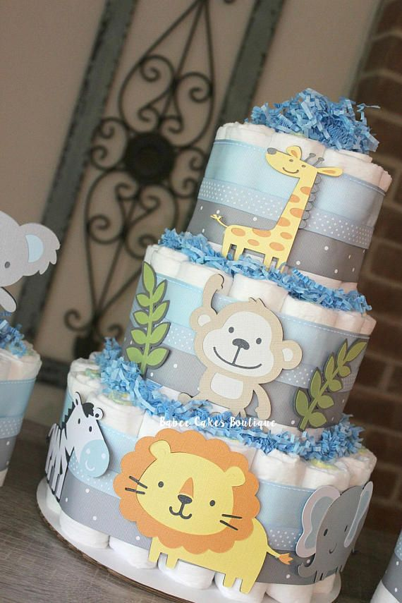 set of 3 jungle diaper cake set 3 tier 2 mini safari jung cakes rh pinterest com
