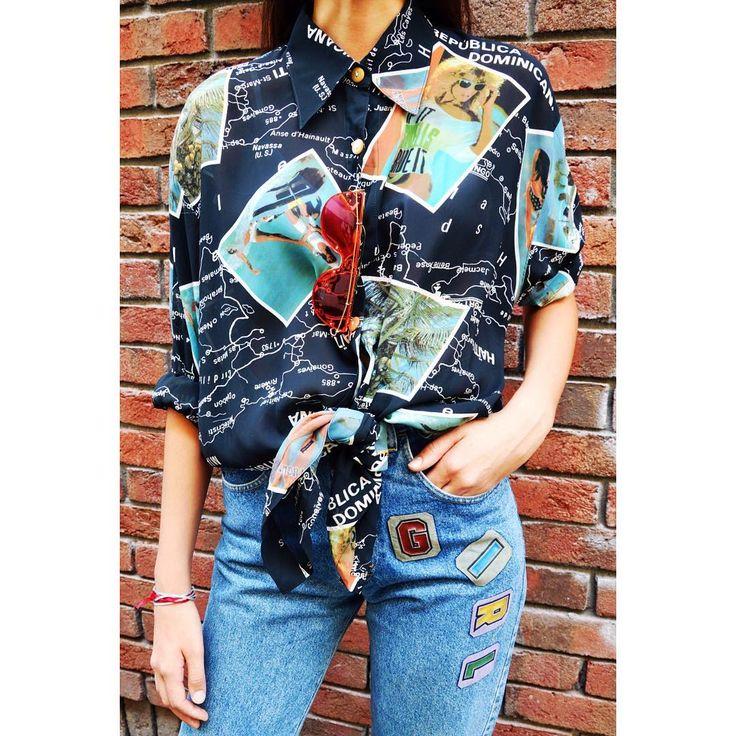Vintage Power  Super cool vintage shirt from the 90's with classic shape denim jeans   #dailylook #outfit #ootd #szputnyik #szputnyikshop #budapest