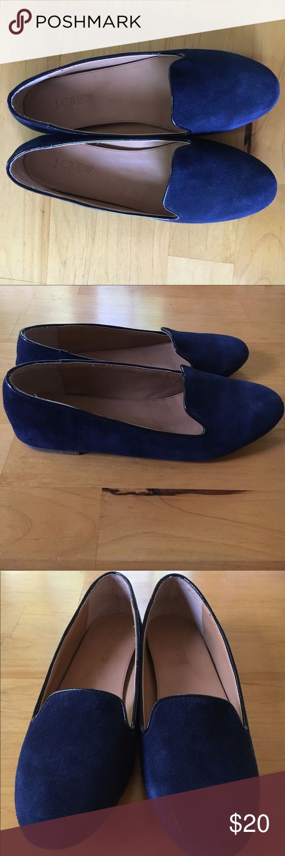 J. Crew Navy Suede Loafer Flats These are a pair of pre-owned J.Crew navy suede loafers in great condition. They have only been worn twice. Notice there is some slight scuffing on the suede near the toe. Let me know if you have any questions :) J. Crew Shoes Flats & Loafers