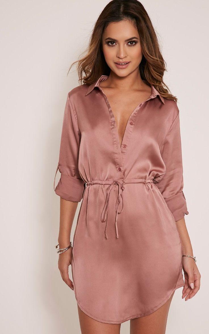 Amanda Mink Tie Waist Satin Shirt Dress Image 3