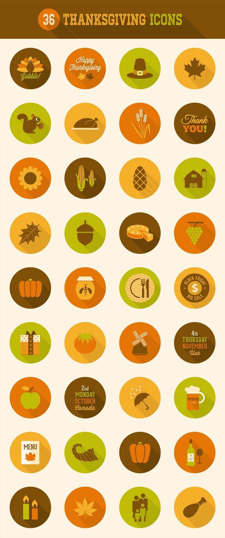 36 Thanksgiving #Icons #design