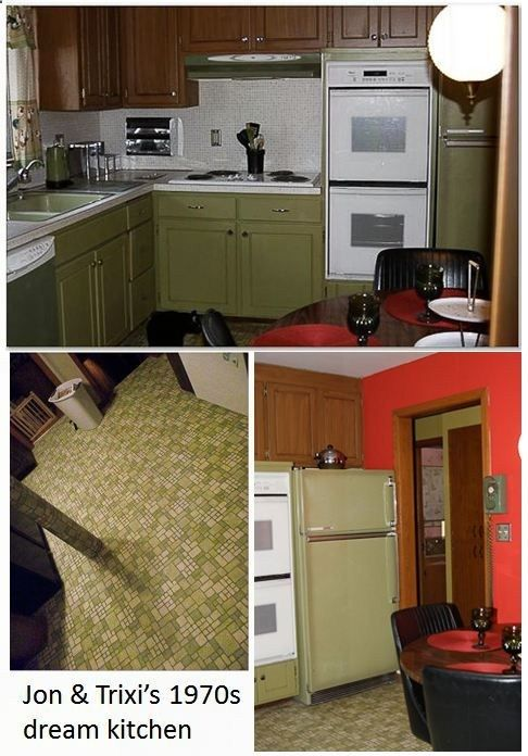 17 best decor inspo brady bunch images on pinterest for Avocado kitchen cabinets