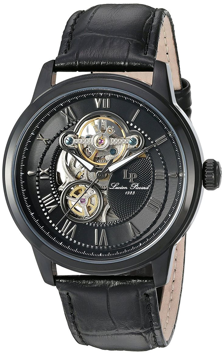 Lucien Piccard Men's 'Optima' Stainless Steel and Leather Automatic Watch, Color:Black (Model: LP-12524-BB-01) *** Visit the image link more details.