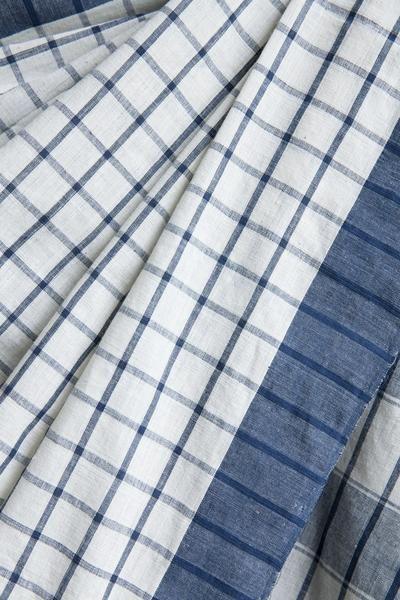 #Blue #Checks on #White #Kora #Saree #Malkha #handwoven #unbaled #cotton