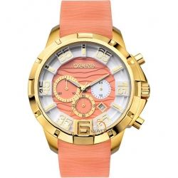 BREEZE Tropical Affair Chrono Gold Beige Rubber Strap