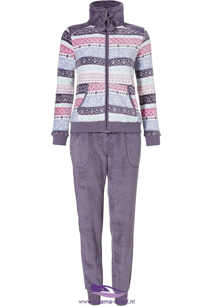 Feel hip & trendy in this purple and pink, soft fleece Rebelle homesuit with it's modern 'symmetrical stripes' pattern and pom poms
