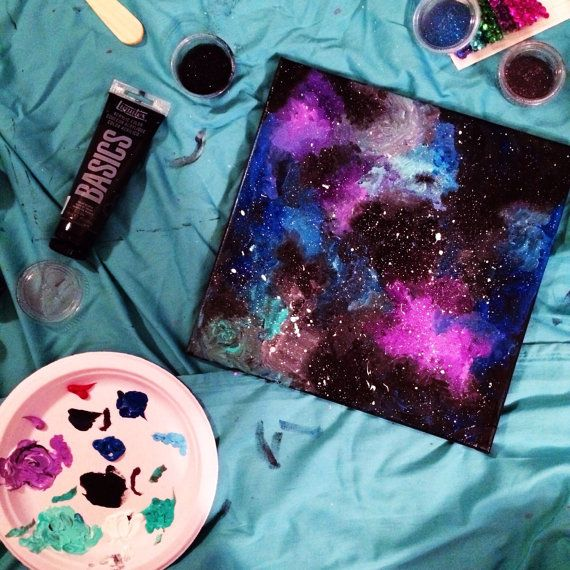 Galaxy Hand Painted Canvas by HuesOfGrace on Etsy