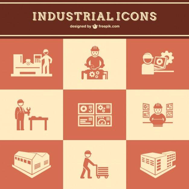 Industrial work vector set free Free Vector
