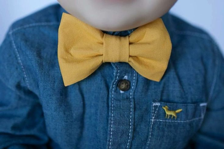 Mustard yellow bow tie.