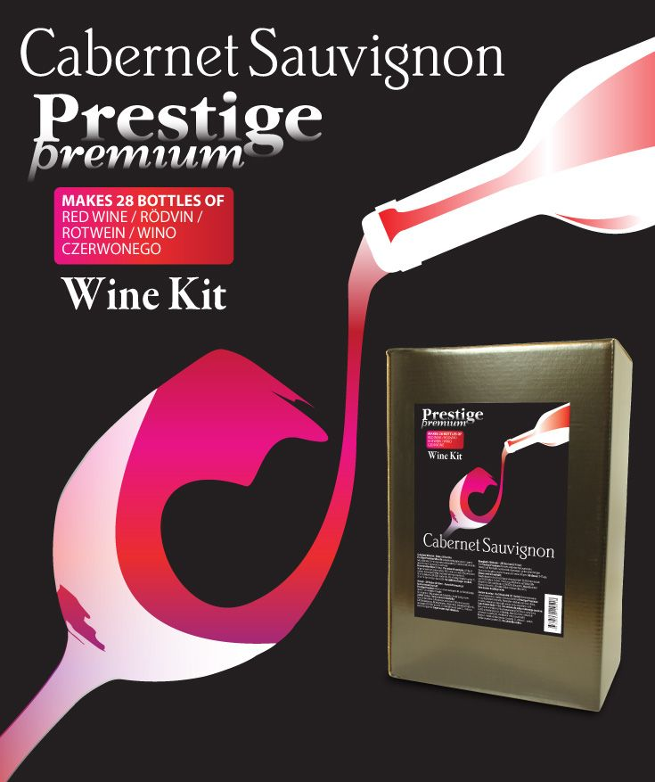 Prestige Premium 7KG Cabernet Sauvignon vinsats Premium kvalitet vinsats på sortrena druvor. 6,9 kg druvkoncentrat i praktisk 5L plastdunk. Komplett med ingredienser - endast vatten behöver tillsättas.