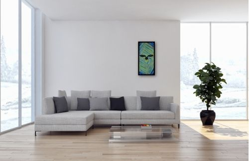 Eulen Gemälde Nr. 803 Vikram kommt (2017) von Manuel Süess im Wohnzimmer   80x40cm   Erfahre mehr dazu: http://art-by-manuel.com/de/nr.-803-vikram-kommt-2017/