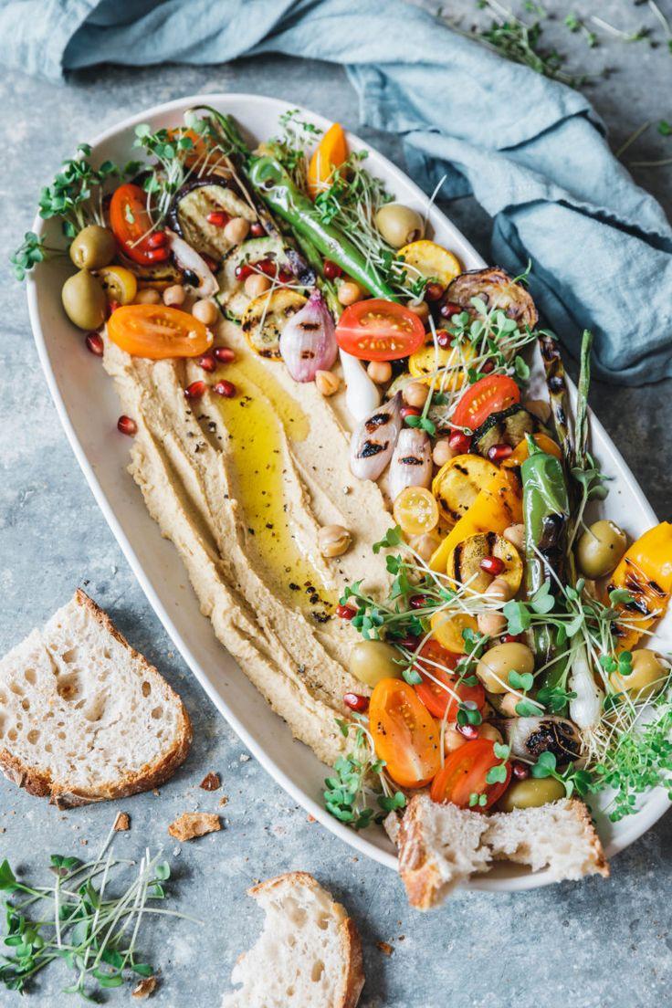 Hummus mit gegrilltem Gemüse & Microgreens – Eat this!