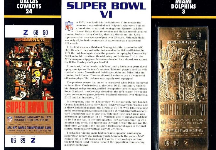 Super Bowl Vi Cowboys Dolphins 22kt Gold Ticket Willabee Ward Roger Staubach Mvp from $15.0
