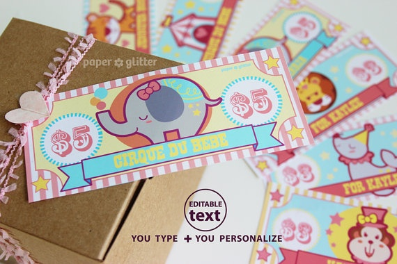 Printable Toy Money : Circus party paper toy money or gift certificate