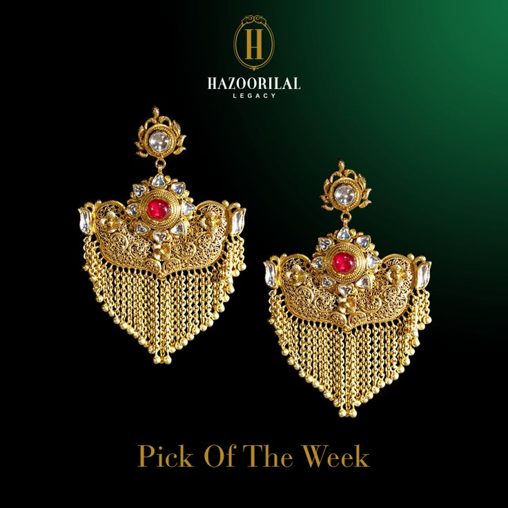 #HLPickOfTheWeek: Scintillating shields of gold. #HazoorilalLegacy #Hazoorilal  #Gold #Jewelry #Earrings