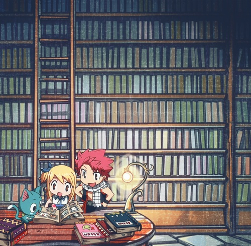 Happy, Lucy, and Natsu in the library! x3
