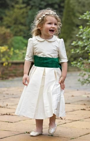157a9e4c531 Silk flower girl dress with peter pan collar. Thai silk sash and ivory and  white flower crown. Amelia Brennan ...