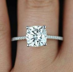 simple cushion cut engagement rings - Google Search