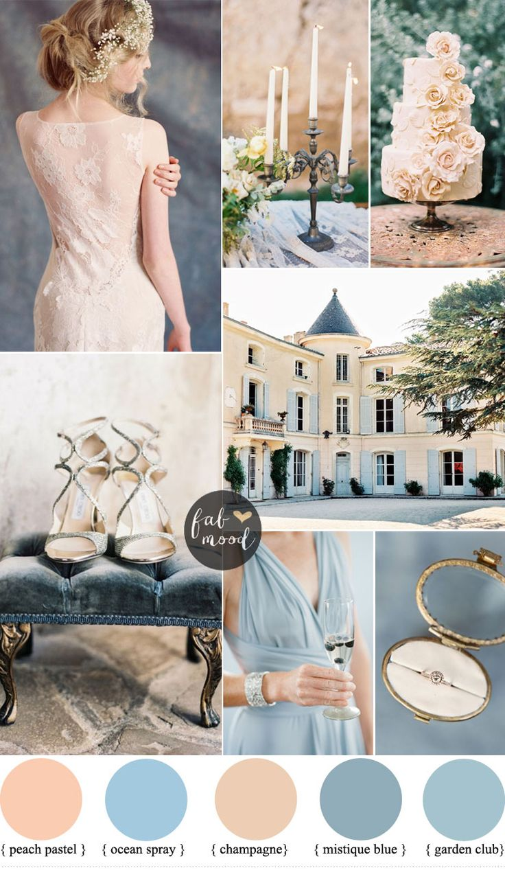 Romantic Provencal Wedding Inspiration In Champagne Peach And Shades Of Blue | fabmood.com #weddingcolours #weddingtheme #wedding