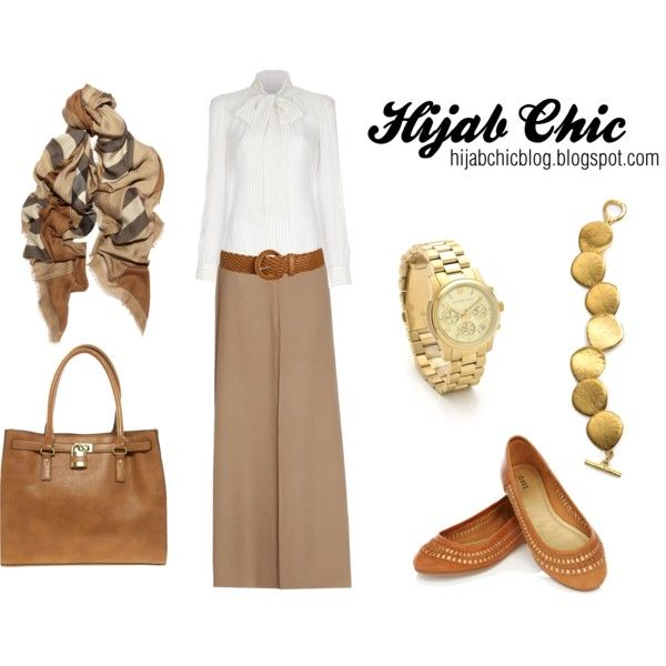 """""""Hijab style inspiration: beige skirt"""" by fashion4arab on Polyvore--work look"""
