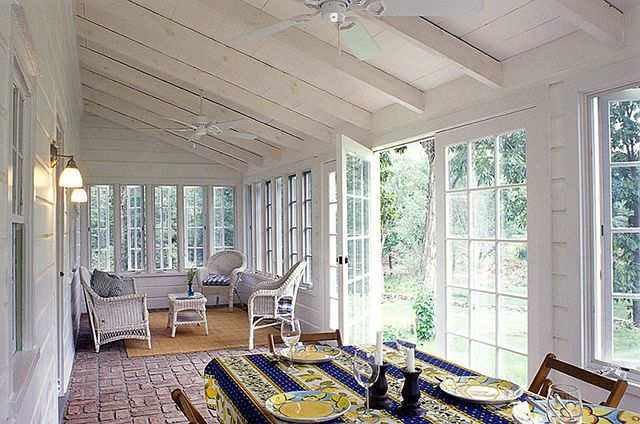 DREAM PORCH, love the ceiling, walls, windows, and floors.  This is exactly what we are looking for in a back porch.  LOVE.