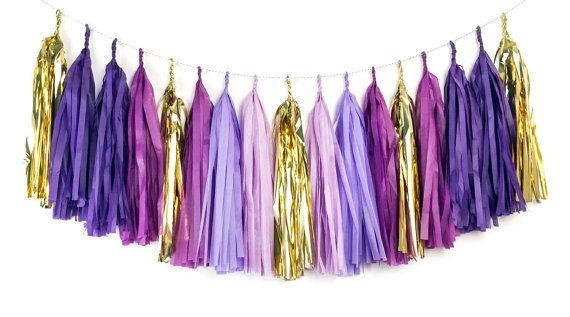 This purple and gold tassel garland is so cute it will make you say Oh my glob! Inspired by my favorite (and the most lumpy) Adventure Time