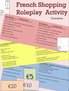 French Shopping Roleplay Activity for French Class: This is a great activity to have students practice clothing and shopping vocabulary in a practical real-life scenario. A proficiency and task based activity.