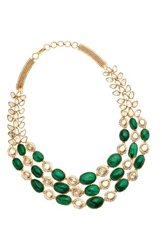 Uncut diamonds and emeralds set in 18K gold necklace by Amrapali Drowing in diamonds | Vogue INDIA
