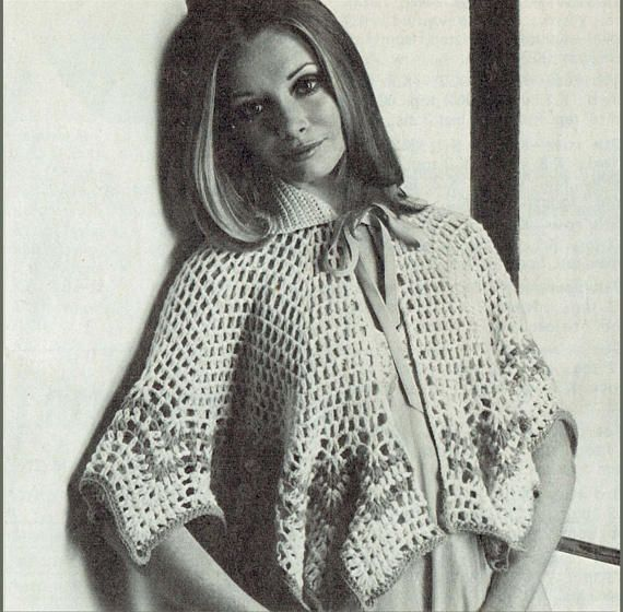 PDF Vintage 1970s Ladies PUSSY-BOW Lacy Bed Cape Crochet