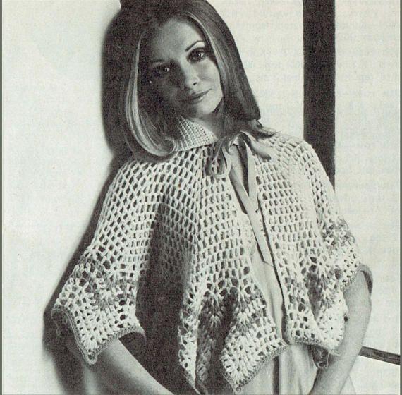 PDF Vintage 1970s Ladies PUSSY-BOW Lacy Bed Cape Crochet