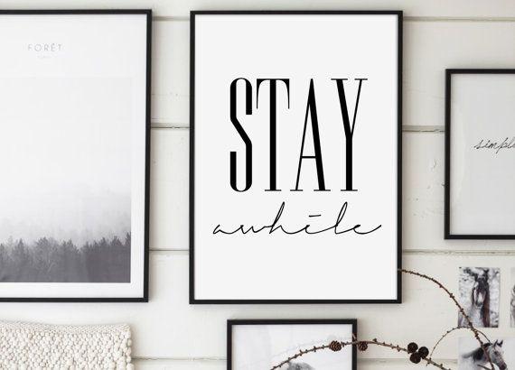 Imprimable «rester un certain temps», minimaliste moderne, rester un certain temps Poster, décoration murale, Affiche Scandinave, citations imprimables, typographie, scandinave