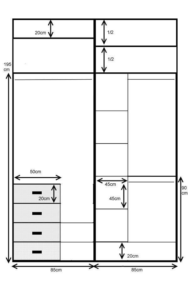 Armario empotrado de 2 puertas correderas   Medidas aprox. Del hueco (de pared a pared)  Ancho 173 cm  Alto 256 cm  Fondo 66 cm  Estilo japonés a 5 cuadros melamina...