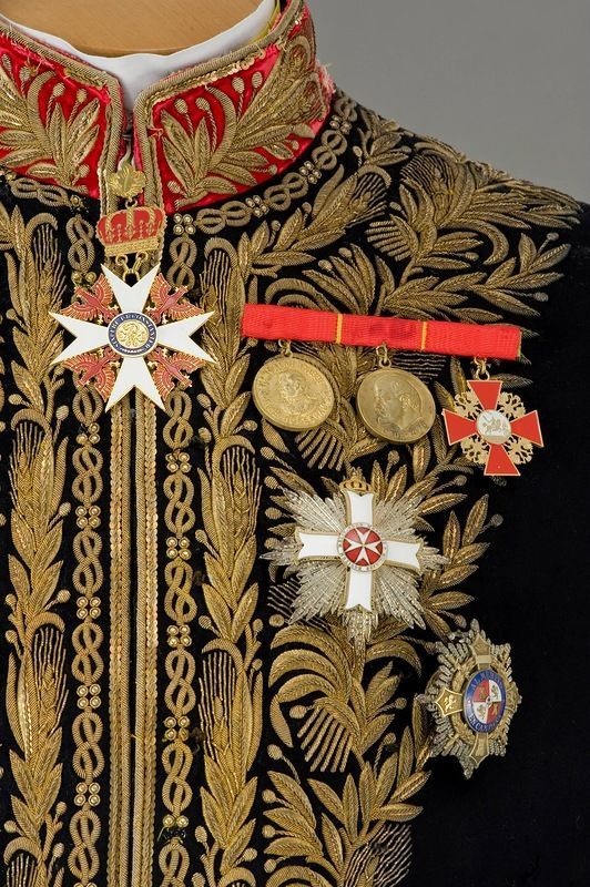 Diplomatic uniform coat detail, 1858-60~ detail gold thread embroidery of oak leaves and acorns. Description from pinterest.com. I searched for this on bing.com/images