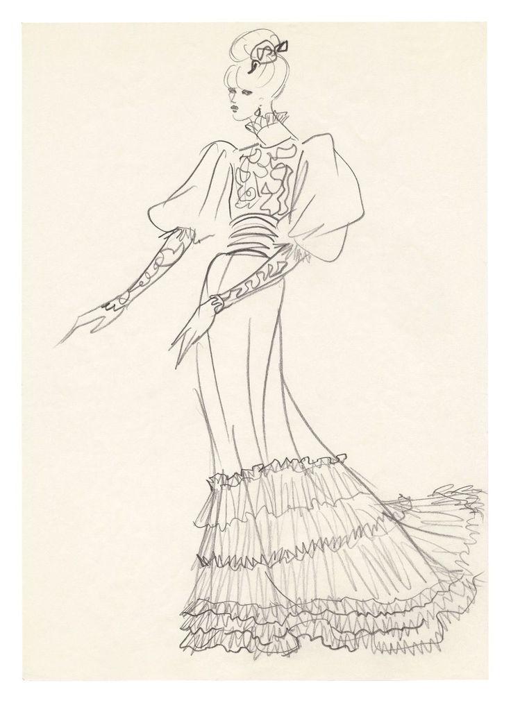 1971 - YSL sketch - dress for Jane Birkin for the Bal Proust @ FondationBergeYSL