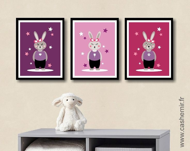 poster pour enfant fille d coration chambre illustration affiche d coration murale cadeau lapin. Black Bedroom Furniture Sets. Home Design Ideas