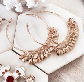 The Rush Dangle Hoops in Gold- Available now at www.tealandtala.com.au