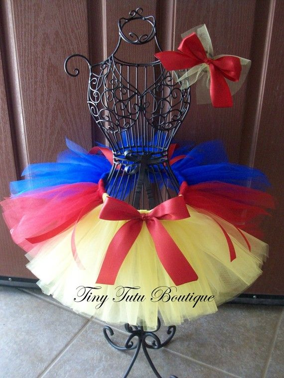 Snow White- Yellow, Blue, and Red baby/child tutu with FREE hairbow- 2T/3T 4T/5T