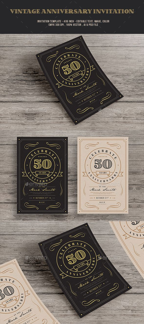 144 best invitation card templates images on pinterest card vintage anniversary invitation template cards invites print stopboris Images