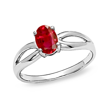 Angara Solitaire Square Ruby Promise Ring in Platinum