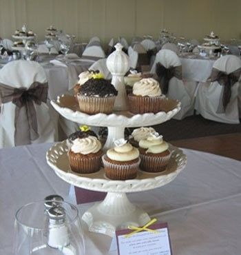 cupcake centerpieces for the tables.  Love this and can buy and borrow enough cute and different cupcake holders.