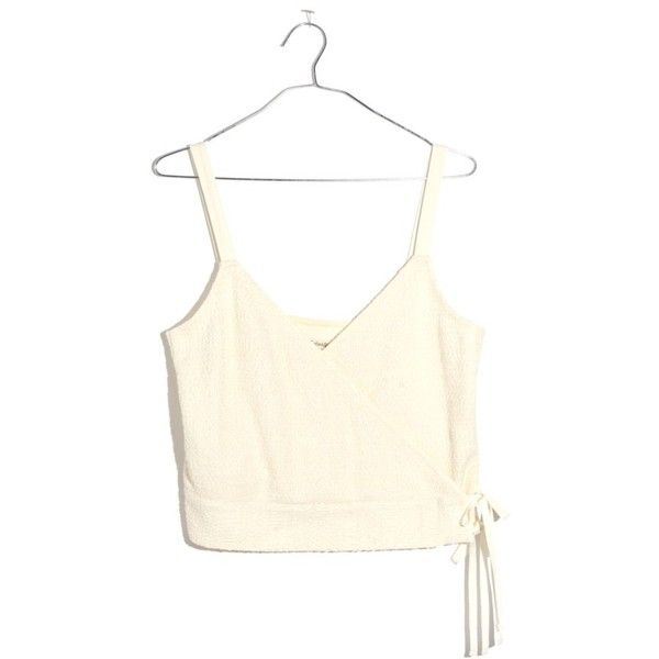 Women's Madewell Finale Jacquard Wrap Tank ($50) ❤ liked on Polyvore featuring tops, antique cream, madewell, white crop tank, white crop tank top, wrap crop top and cream tank top