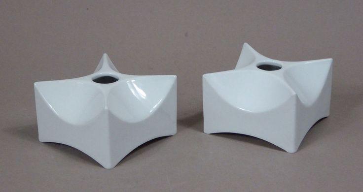 Vasen Kerzenständer KPM Porzellan Design Quillmann 1969 Cube Vases Candle Stands