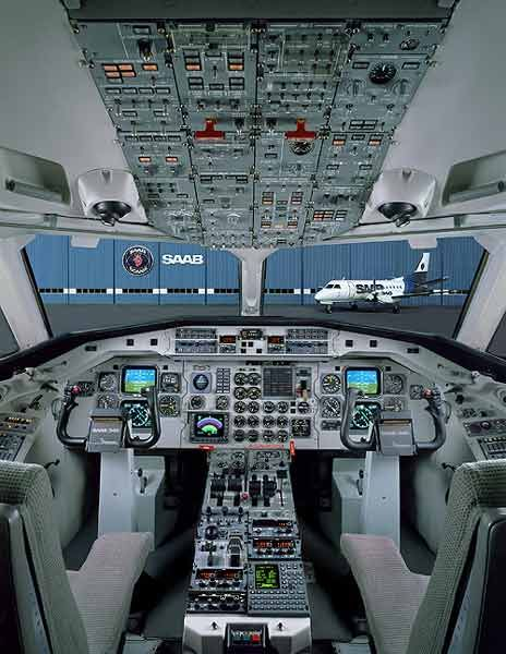 Saab 340B flight deck. As minimalistic as their Saab vehicles. Beautiful!