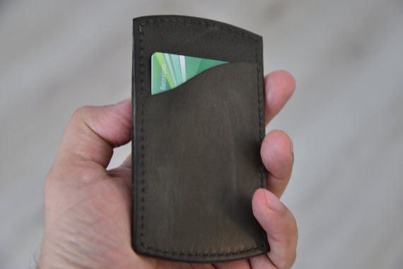 leather minimalist cardholder / wallet by NHLdesign on Etsy