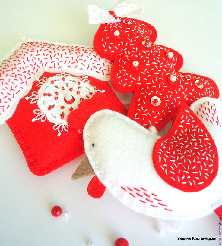 Купить Новогодние игрушки комплект - петух, домик и елочка. - ярко-красный, новогодний подарок