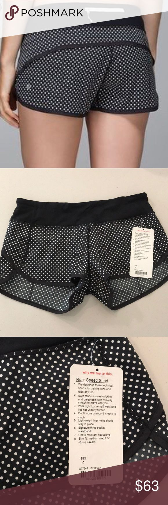"""NWT BIPB / BLACK LULULEMON RUN SPEED SHORT -Size 4 Brand: Lululemon Athletica run: Speed Short 2.5 """" inseam          Condition: New with tag 