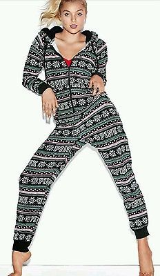 Victorias Secret PINK Sherpa Onesie Pajama Fairisle Long Jane PJ Black Large