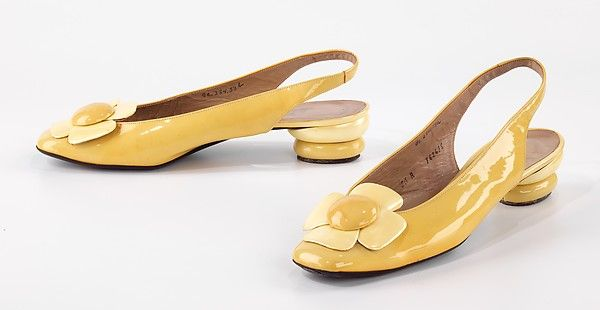 These 1965 shoes combine ladylike styles of the early 60s and the growing flower power of the later half of the decade.